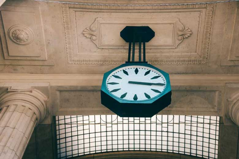 A clock in Millan railway station
