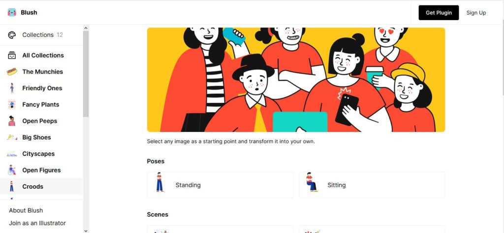Blush - categories to customise illustrations