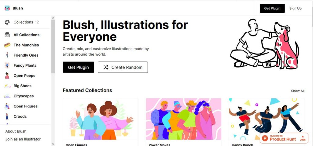 The inteface of blush, the free designer tool