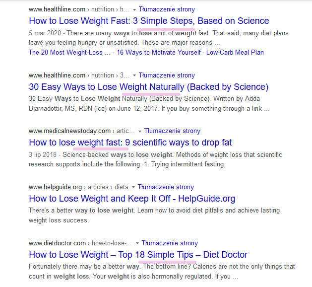 """Top results for query """"ways to lose weight"""" to analyze the sentiment"""