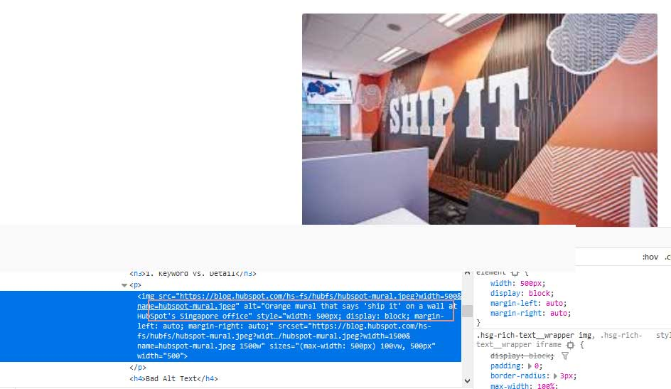 Example of Alt text in HTML code from Hubspot website