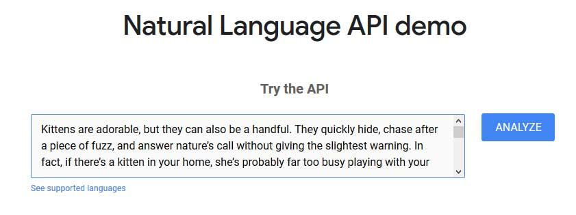 A search box of Google Natural API Demo tool with a text about kittens