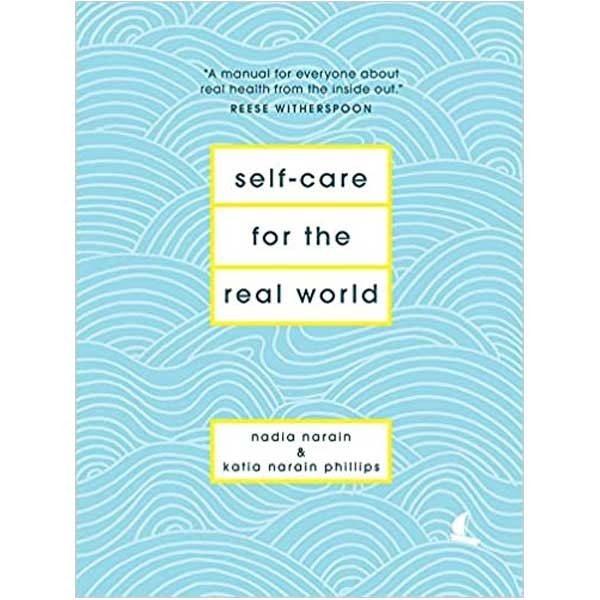 White and blue wavy illustration on the cover of Nadia Narains book titled Self care for the real world
